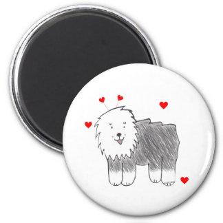 Old English Sheepdog Valentine Ears 6 Cm Round Magnet