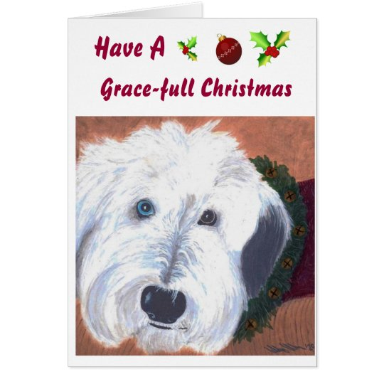 Old Englsih Sheepdog Christmas card