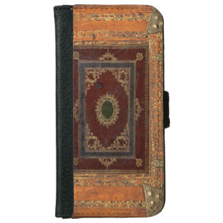 Old Engraved Decorated Leather Book Cover iPhone 6 Wallet Case