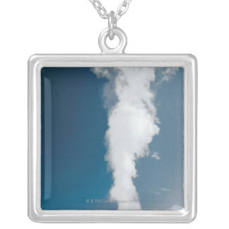Old Faithful geyser , Yellowstone National Park Silver Plated Necklace