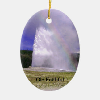 Old Faithful in Yellowstone National Park Ceramic Oval Decoration