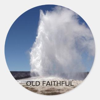 Old Faithful Yellowstone National Park Geyser Round Sticker
