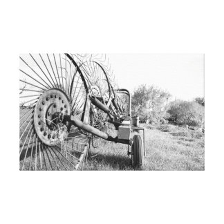 old farm rake in black and white on canvas