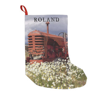 Old Farm Tractor Rustic Christmas Stocking Small Christmas Stocking