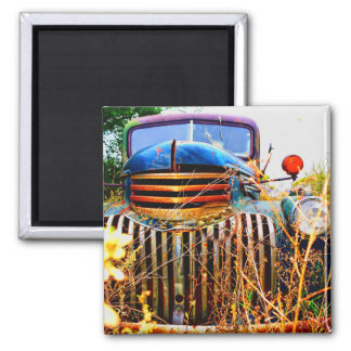 old farm truck square magnet