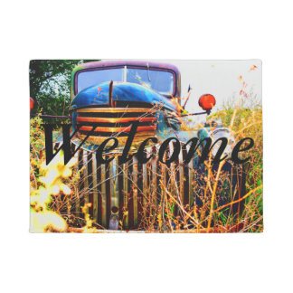Old farm truck welcome mat