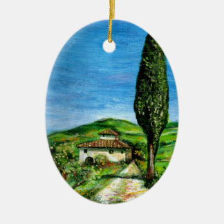 OLD FARMHOUSE IN TUSCANY LANDSCAPE CERAMIC OVAL DECORATION