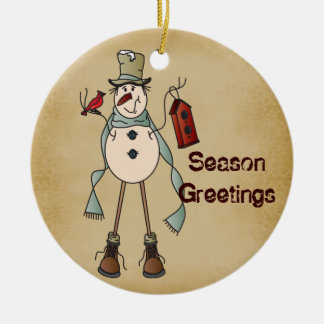 Old Fashion Blue Snowman - Season Greetings Christmas Ornament