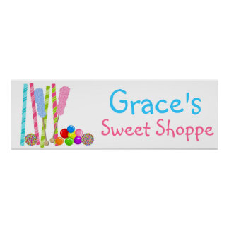 Old Fashion Candy Sweet Shoppe Banner Poster