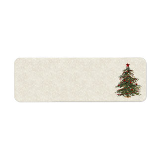 old fashion christmas tree address labels