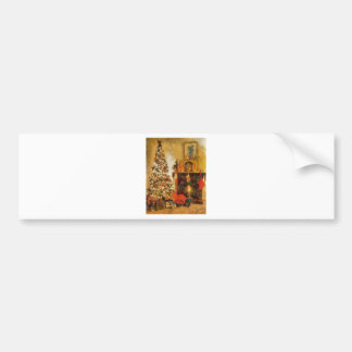 Old Fashion Christmas Tree And Fireplace Bumper Stickers