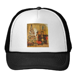 Old Fashion Christmas Tree And Fireplace Hats