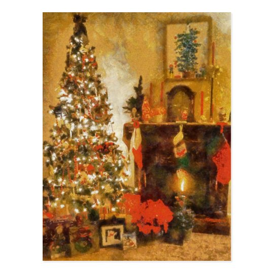 Old Fashion Christmas Tree And Fireplace Postcard