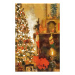 Old Fashion Christmas Tree And Fireplace Stationery Paper