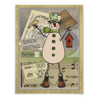 Old Fashion Green Snowman Poster