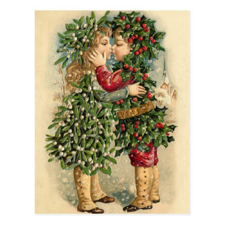 Old Fashion Holly Kids Kissing Christmas Postcard