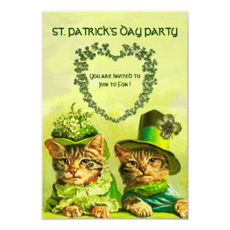OLD FASHION IRISH CATS ,ST.PATRICK'S DAY PARTY 9 CM X 13 CM INVITATION CARD