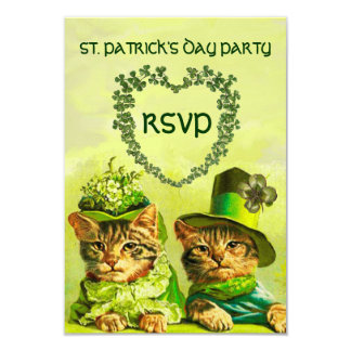 OLD FASHION IRISH CATS,ST.PATRICK'S DAY PARTY RSVP 9 CM X 13 CM INVITATION CARD