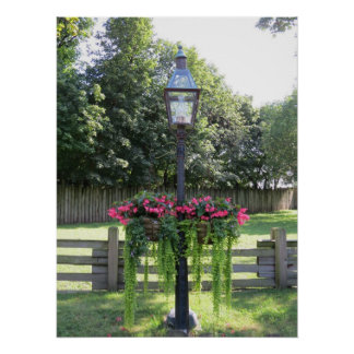 Old Fashion Lamp Post With Hanging Flowers Poster