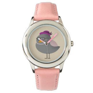 Old Fashion Pink Lady Cute Bird Beautiful Charming Wristwatches