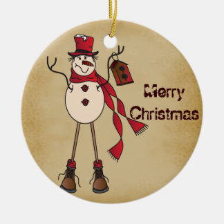 Old Fashion Red Snowman Christmas Ornament