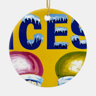 Old Fashion Signs: ICES! Christmas Ornament