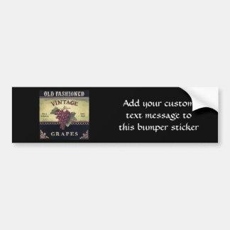 Old Fashion Vintage Grapes, Purple and Black Wine Bumper Sticker