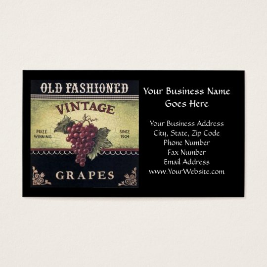 Old Fashion Vintage Grapes, Purple and Black Wine Business Card