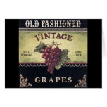 Old Fashion Vintage Grapes, Purple and Black Wine Greeting Card