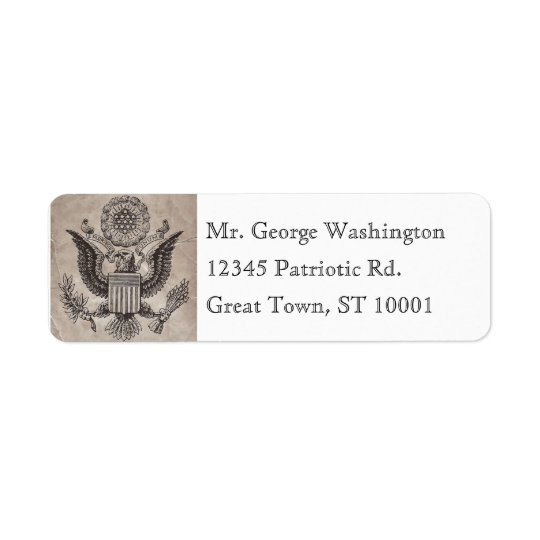 Old Fashioned American Coat of Arms Address Label
