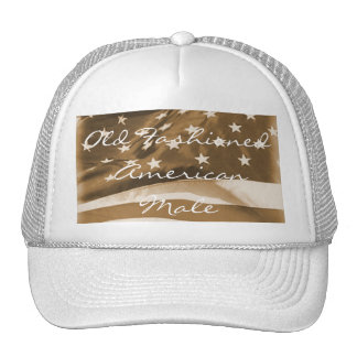 Old Fashioned American Male-Vintage Flag Trucker Hat