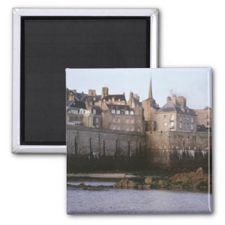 Old-fashioned architecture, Brittany, France Square Magnet