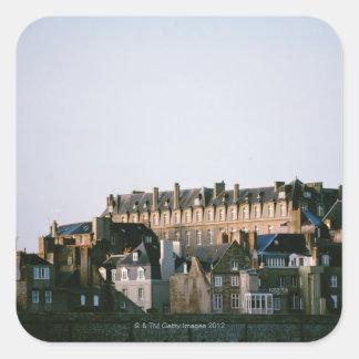 Old-fashioned architecture in Brittany Square Sticker