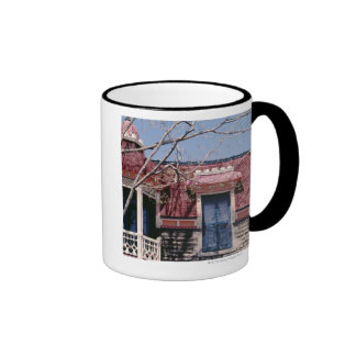 Old-fashioned architecture with balcony coffee mugs