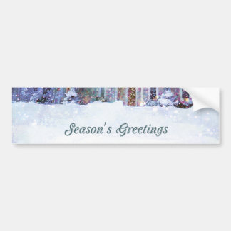 Old-fashioned art, Snow scene, Home at Christmas Bumper Sticker