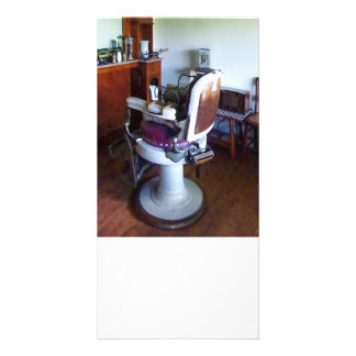 Old-Fashioned Barber Chair Customised Photo Card