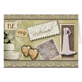 Old fashioned be my bridesmaid card