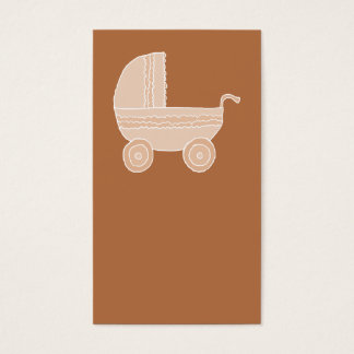 Old Fashioned Beige Baby Stroller on Brown. Business Card