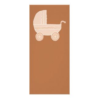Old Fashioned Beige Baby Stroller on Brown. Personalized Rack Card