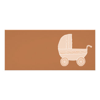 Old Fashioned Beige Baby Stroller on Brown Rack Card Template