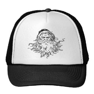 Old-Fashioned Black and White Santa Trucker Hat