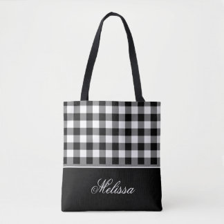 Old Fashioned Black & White Gingham | Personalized Tote Bag