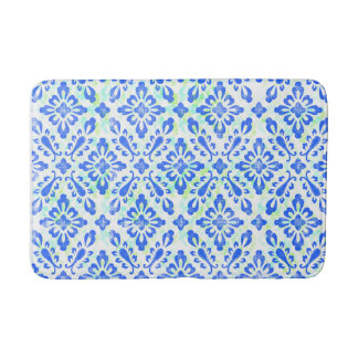 Old Fashioned Blue and White China Pattern Bath Mat