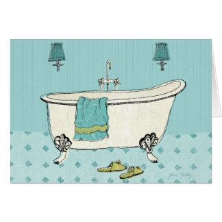 Old Fashioned Blue Bathroom Card