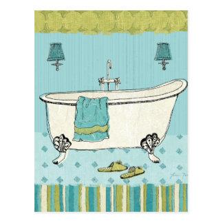 Old Fashioned Blue Bathroom Postcard