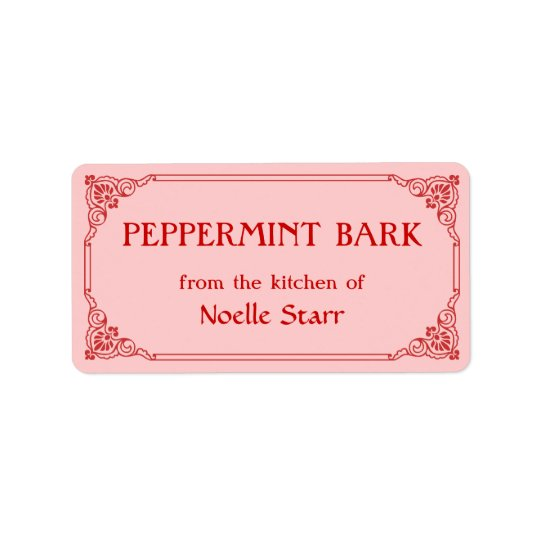 Old Fashioned Border Peppermint Bark Gift Label