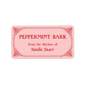 Old Fashioned Border Peppermint Bark Gift Label Address Label
