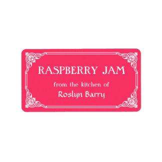 Old Fashioned Border Raspberry Jam Jar Label Address Label