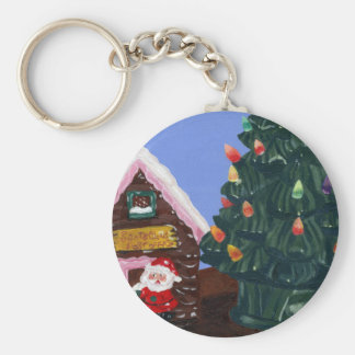 Old Fashioned Christmas Basic Round Button Key Ring