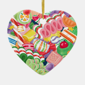 Old Fashioned Christmas Candy Ceramic Heart Decoration